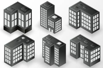 Illustrations of Building with Flat Roofs