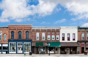 Historic Brick Buildings In A Small Town