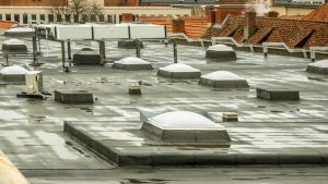 Roof With Puddles Of Water
