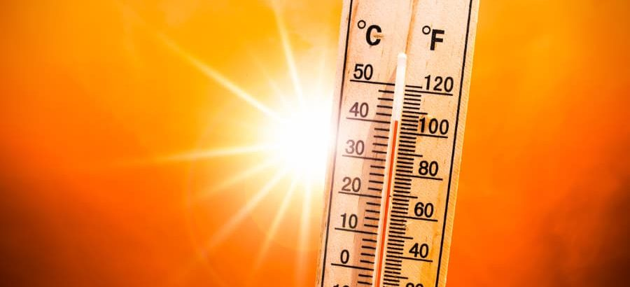 Hot Sun And Thermometer Indicate High Temperatures